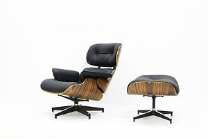 Remarkable Details About Mid Century Eames Lounge Chair Ottoman Top Grain Leather Black Palisander Bralicious Painted Fabric Chair Ideas Braliciousco