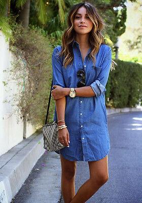 Fashion Women Long Sleeve Loose Blue Denim Casual Button Up Top Blouse Shirt