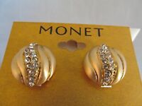 Monet Gold & Crystal Round Swirl Design Earrings, Signed, Sparkly