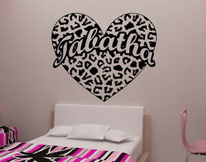 Image is loading Cheetah-Spot-Heart-with-Custom-Text-Vinyl-Wall-