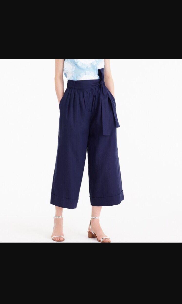 J Crew High Waisted Collection Culotte Pant In Italian Linen Sz 8  238
