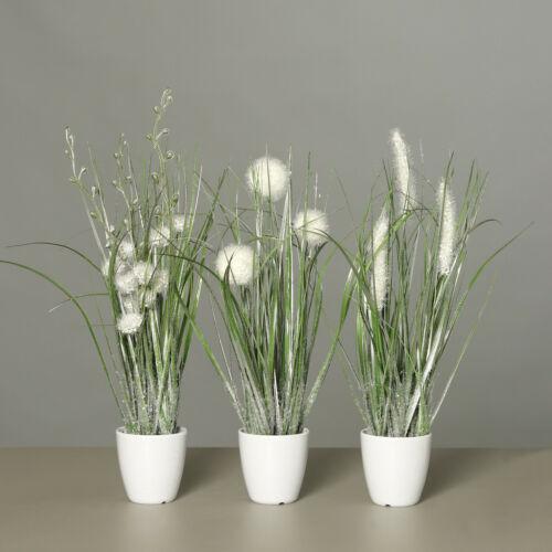 Winterliche Kunstpflanzen Höhe 35cm 3er Set glitzerndes Gras im weißen Topf
