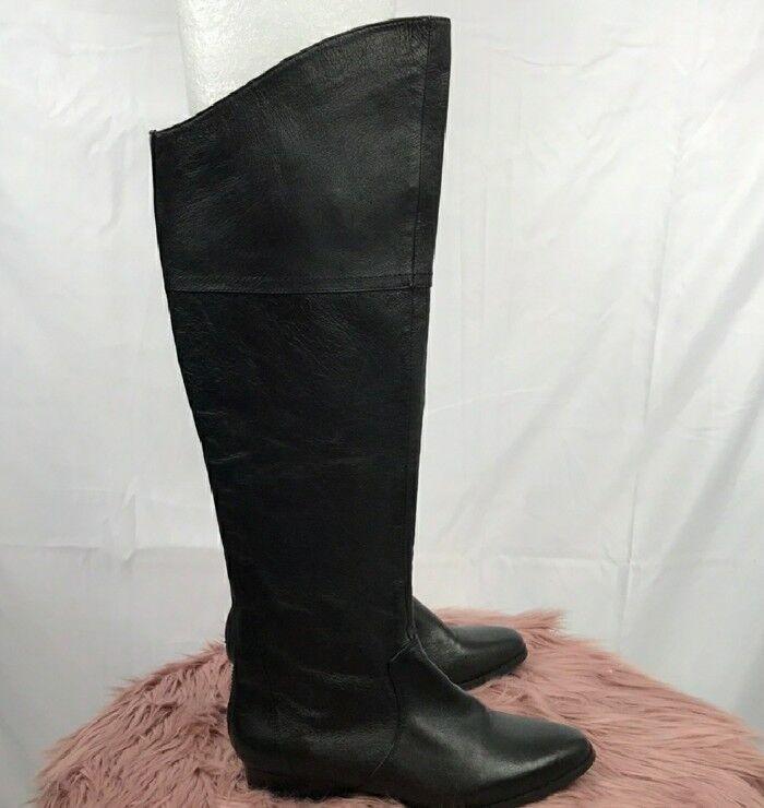 EUC! Steve Madden KOMA Over The Knee Back Zip Leather Boot. Black Size 9