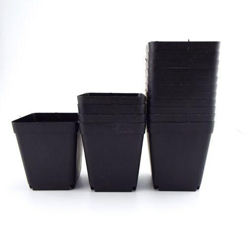 20//50pcs Black Plastic Square Flower Plant Pot Saucer Garden Decor Nursery Pots