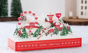 Unique Christmas Cards.Details About Unique Christmas Card Village Scene Snow 3d Pop Laser Cut Gold Foil Red New
