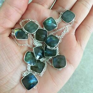 """NATURAL INDICOLITE TOURMALINE 925 STERLING SILVER LONG CHAIN NECKLACE 36/"""" MALA"""