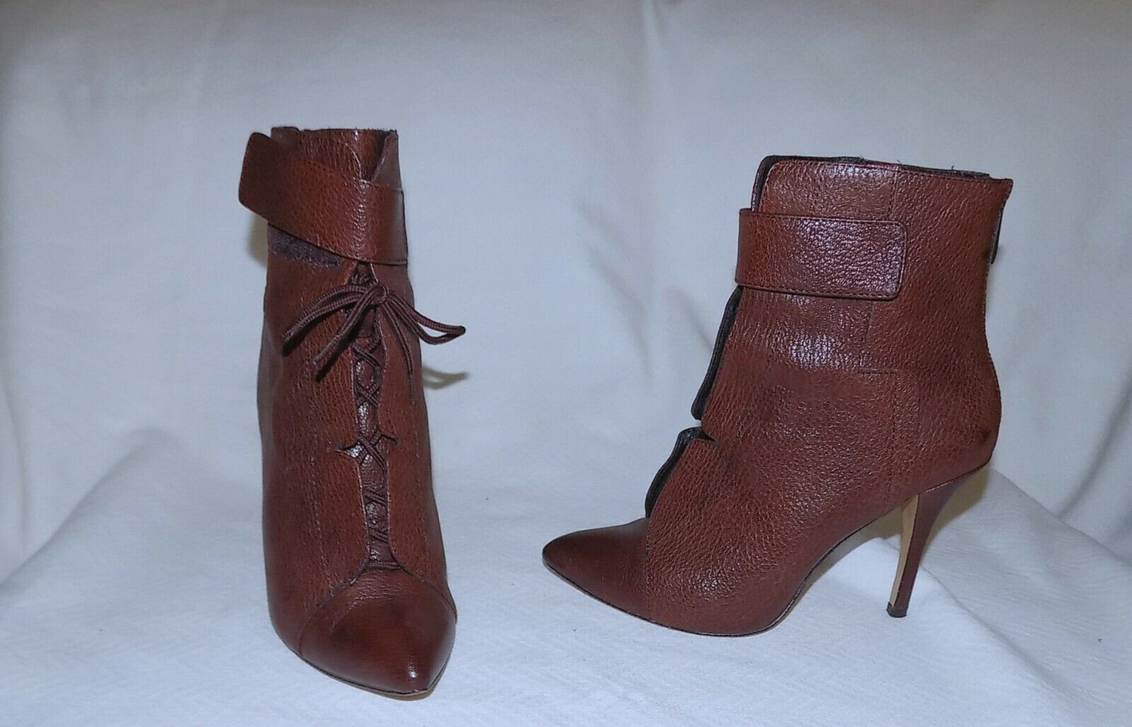 POUR La VICTOIRE All Leather Sexy Safety Strapped Booties-Size 6,1 2M-Brown-Good
