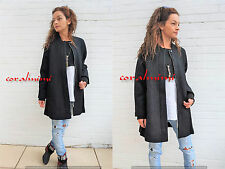 ZARA NEW BLACK WOOL CAPE OVERSIZED JACKET COAT KNIT SLEEVES AND COLLAR SIZE S