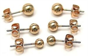 Yellow-Gold-PVD-Ball-Stud-Earrings-3-Pairs-One-Price-Hypoallergenic