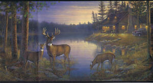 York-Quiet-Places-Deer-by-Lake-and-Cabin-in-Woods-Wallpaper-Border-LM7934BD