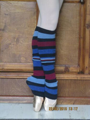 Pair of multi-coloured ballet dance fitness soft wool mix leg warmers New
