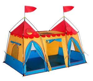 Kids Castle Play Tent w/ Door and Windows, Indoor Outdoor Children Playhouse