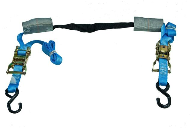 Blue Motorcycle Handlebar Grip Ratchet Tie Down Assembly Harness Transport Strap