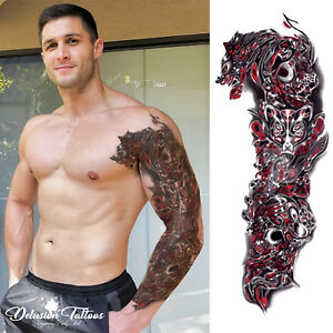 Realistic Temporary Tattoo Sleeve Arm 3d Wolf Tribal Red Black