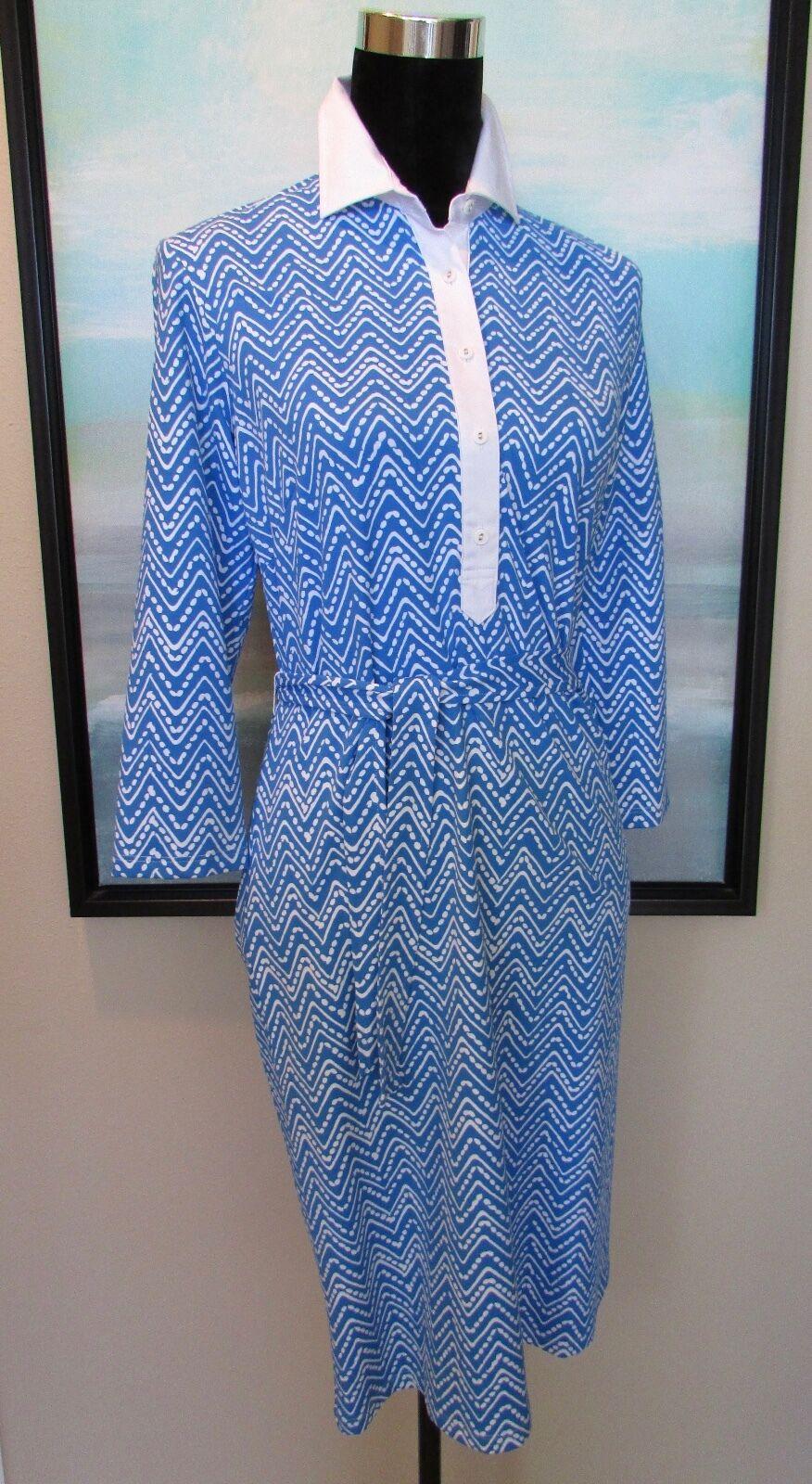 J. McLaughlin Blau Chevron Belted Sheath Dress Catalina Cloth Sz S