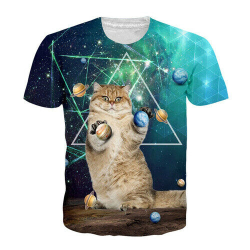 Galaxy Funny Animal Fat-Cat Women Men T-Shirt 3D Print Short Sleeve Tee Tops
