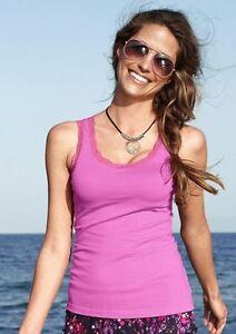 Tops-Hueftlang-Figurbetont-Rundhals-Baumwolle-Elastan-pink-Cheer-Armellos-010
