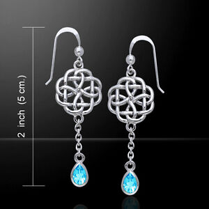 Celtic-Knotwork-925-Sterling-Silver-Earrings-Choice-of-Gemstone-Peter-Stone