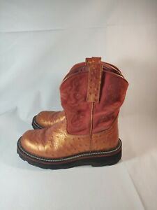 602e92a9fc9 Details about ARIAT FATBABY 4728 OSTRICH PRINT BOOTS WOMENS SIZE 6 B FREE  SHIPPING