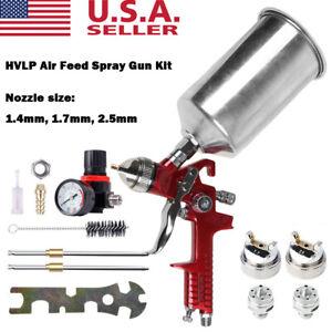3 Nozzle HVLP Air Spray Gun Kit Auto Paint Car Primer Detail Basecoat Clearcoat