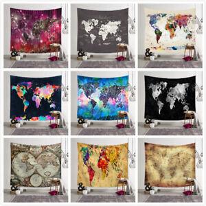 Retro World Map Wall Hanging Tapestry Dorm Decor Throw Hippie