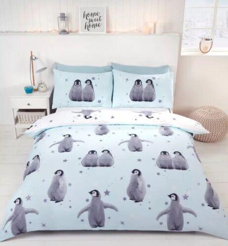 Blue, Rapport Starry Penguin Christmas Duvet Set King