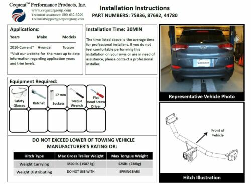 """Trailer Tow Hitch For 16-19 Hyundai Tucson Class 3 2/"""" Towing Receiver"""