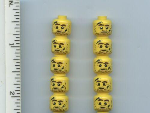 Drop of Sweat LEGO x 10 Yellow Minifig Brown Eyebrows Head Beard Stubble