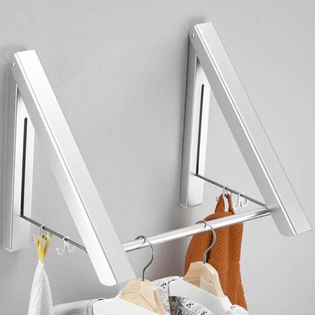 Wall Mounted Drying Rack Folding Clothes Towel Laundry Bathroom Storage Shelf