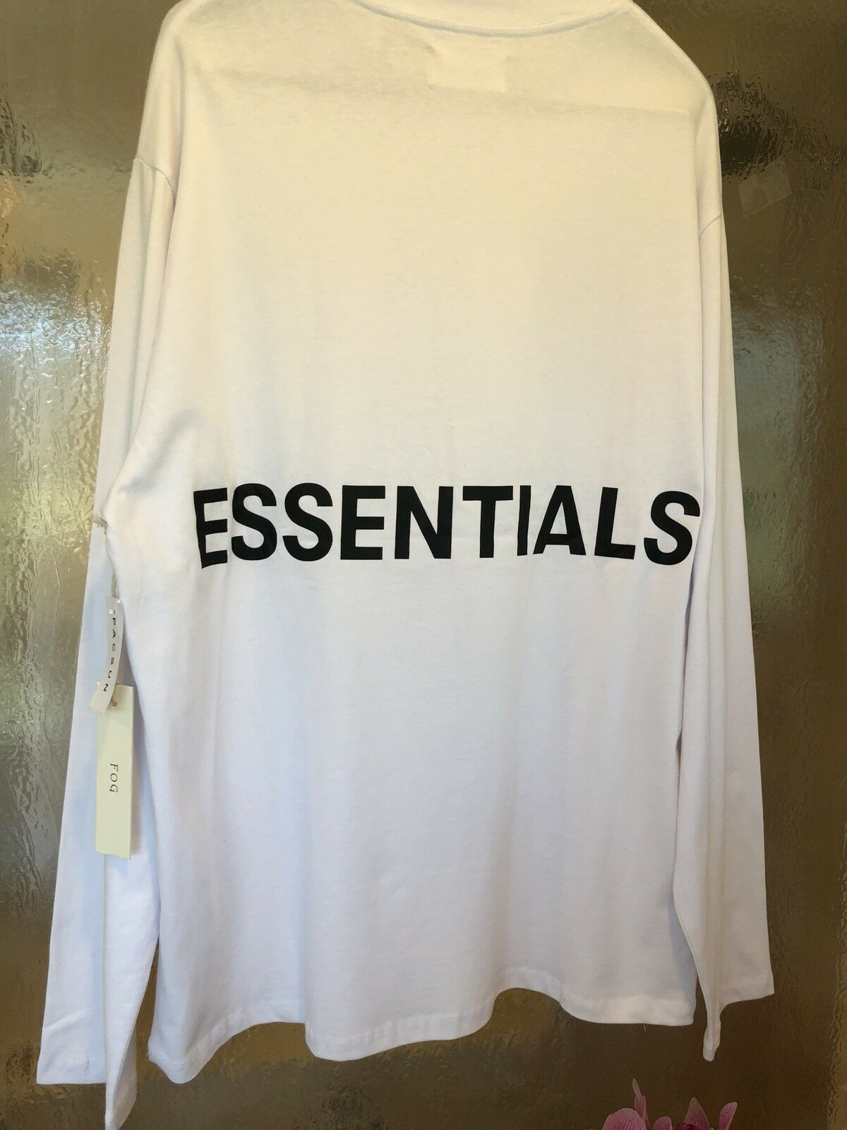 FOG-FEAR OF GOD X PACSUN ESSENTIALS BOXY GRAPHIC WHITE LONG SLEEVE T-SHIRT