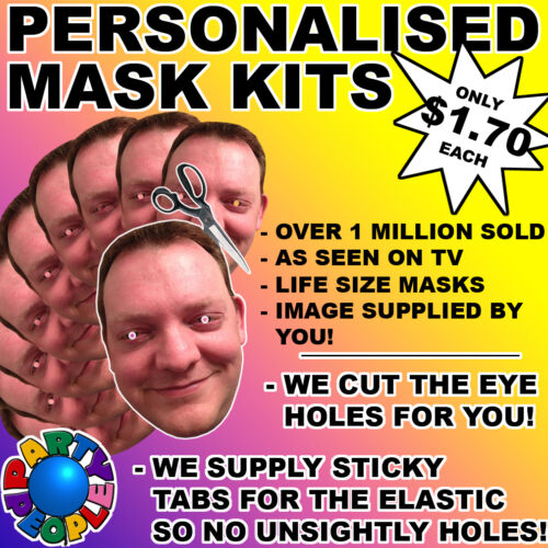 15 PACK PERSONALIZED FACE MASK KIT SEND A PIC /& WE SUPPLY ALL YOU NEED TO DIY!