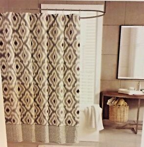 Image Is Loading INK IVY Gray Khaki Cotton Printed Shower Curtain