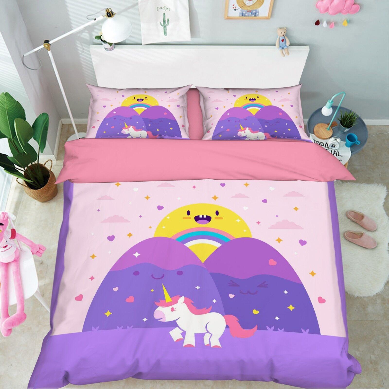 3D Girl Unicorn 682 Bed Pillowcases Quilt Duvet Cover Set Single King UK Summer