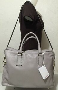Image Is Loading Nwt Arbo Genuine Leather Gray Messenger Bag