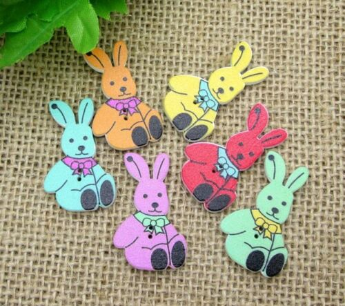 25 x Rabbit Mixed Sewing Buttons Wooden scrapbooking Crafts decoration 30mm