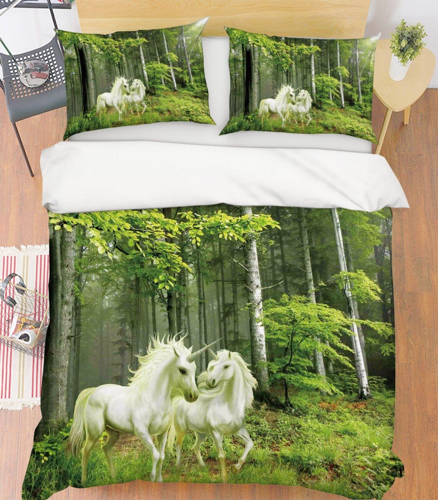 3d unicorno verde foresta 5 LETTO FEDERE steppe duvet set soffitto Single de
