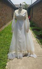 vintage lace sheer boho empire waist wedding dress beige/white sheer chiffon S