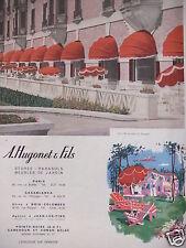 PUBLICITÉ 1952 A.HUGONET & FILS STORES PARASOLS MEUBLES DE JARDIN - ADVERTISING