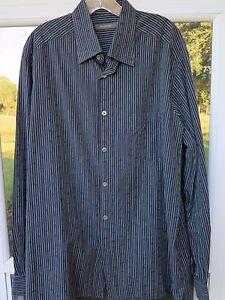 Ermenegildo-Zegna-Mens-Long-Sleeve-All-Cotton-Black-Striped-Italian-Casual-Shirt