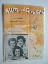 Rum and Coca Cola Sheet Music Andrews Sisters 1945 #1 Song Excellent Condition