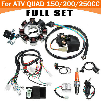 Electric Wiring Harness Wire Loom CDI Stator Kit Set For ATV QUAD  on