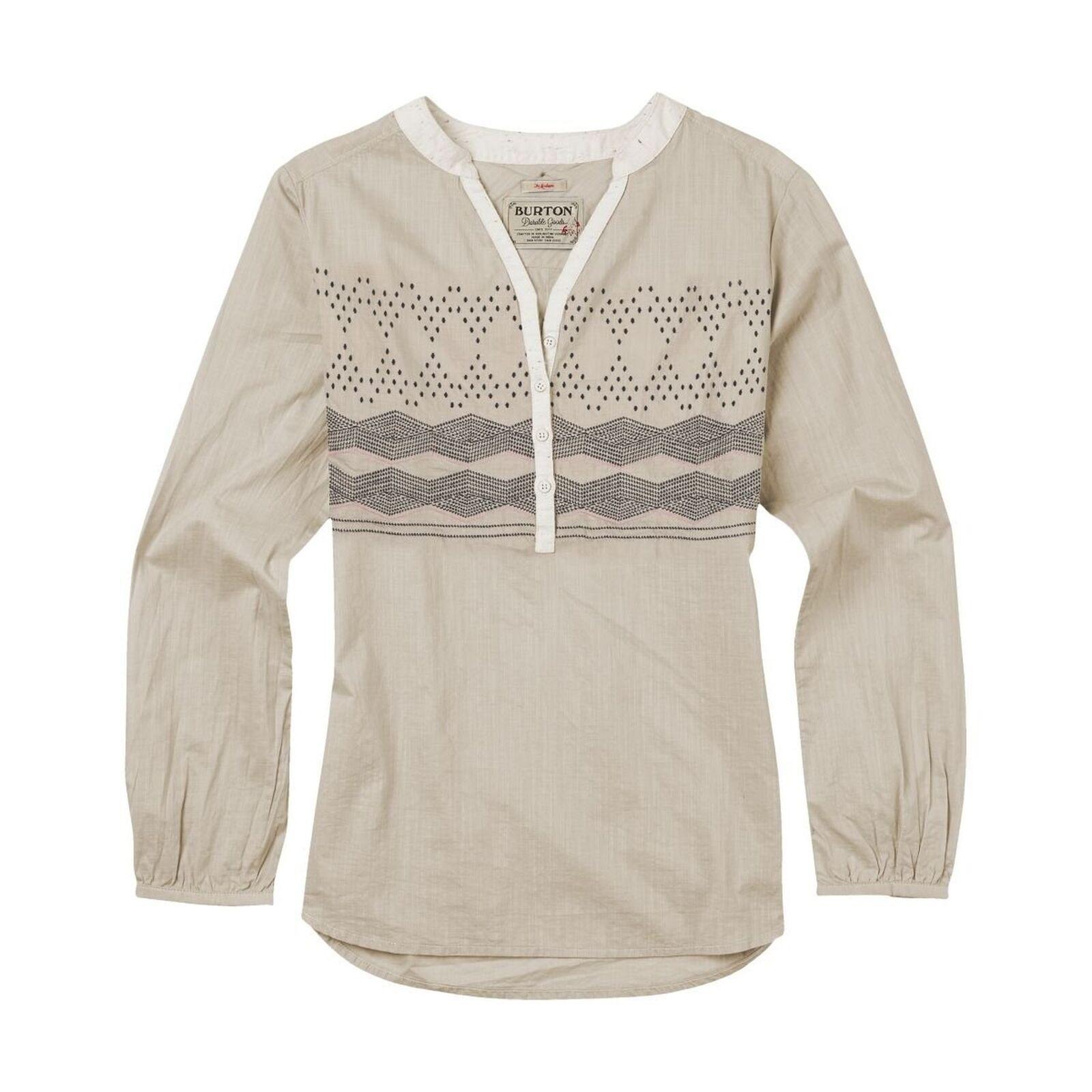 dbc0c45b Burton Women's Waterbury Woven Top Shirt Dove Heather Ethnic Stripe Small