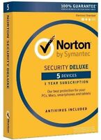 Norton Security Deluxe - 5 Devices / 1-year Coverage. Key Card Only