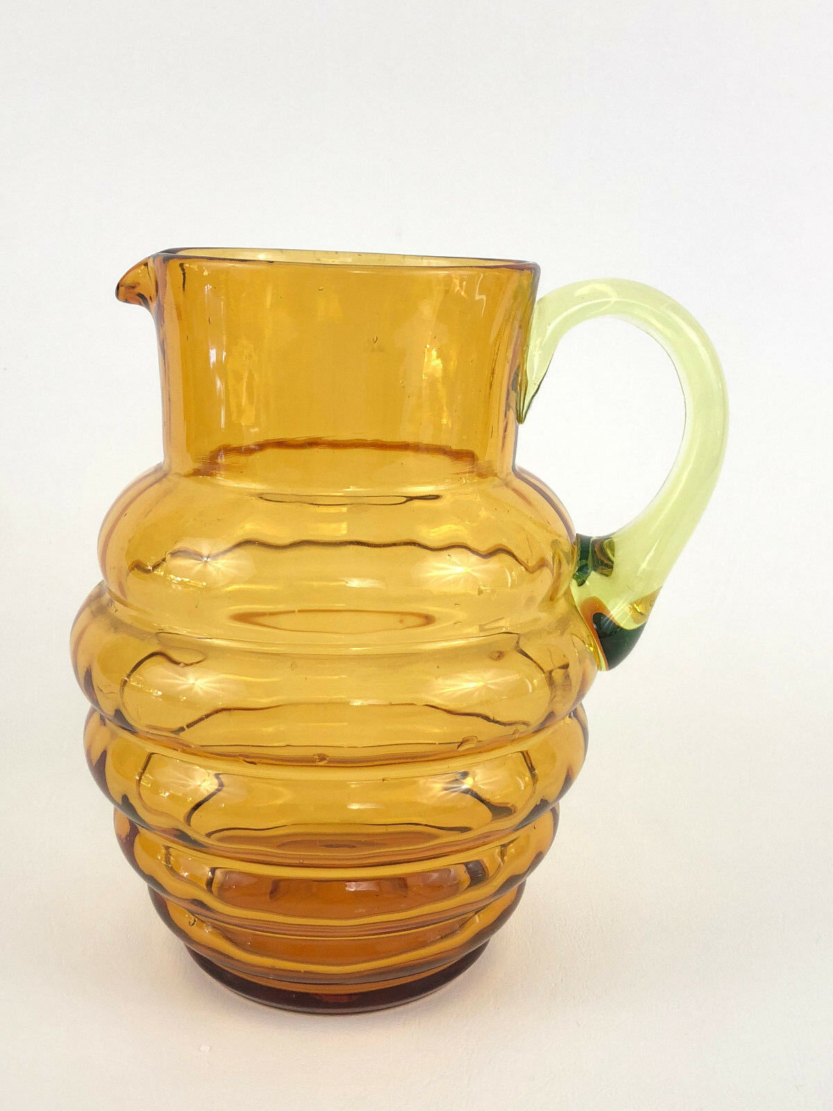 Vintage Art Deco amber glass water pitcher, uranium vert handle 1920s 1930s