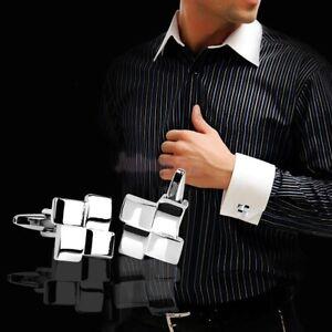Men-039-s-Silver-Geometric-Dress-Shirt-Cufflinks-Cuff-Links-Wedding-Groom-Gift