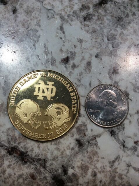 2016 NOTRE DAME FOOTBALL VS MICHIGAN STATE FOOTBALL LIMITED EDITION COIN