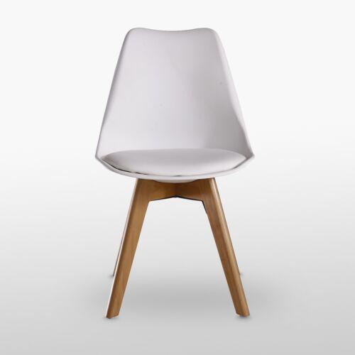 Jamie Lorenzo White Tulip Dining Chair Padded Seat Eiffel Wood Legs Retro
