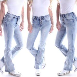 Details zu Damen Bootcut Jeans Schlaghose Hüftjeans Low Rise Schlagjeans Hellblau H20