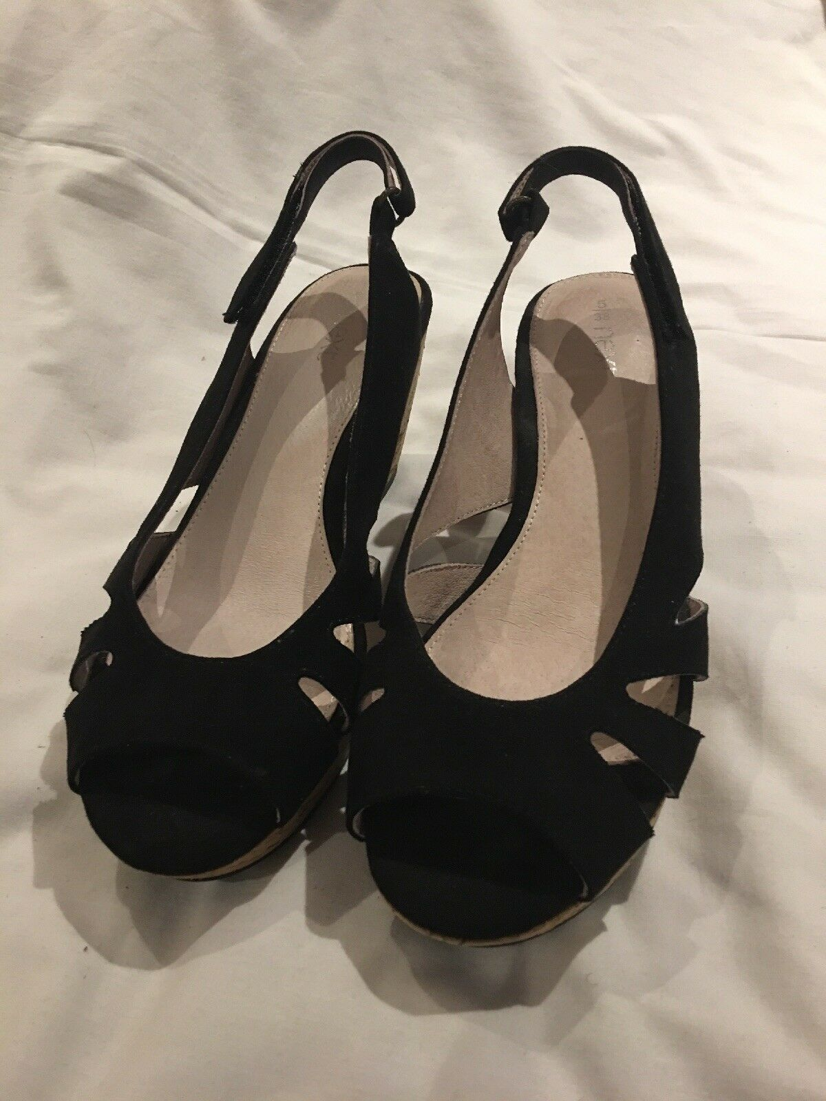 Next Ladies 38 Wedge Black Sandals / 38 Ladies 88139b