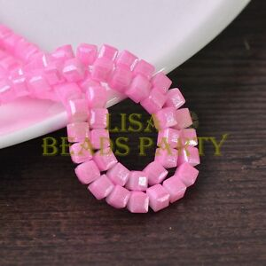 New-50pcs-6mm-Cube-Square-Faceted-Silver-Foil-Glass-Loose-Spacer-Beads-Lt-Pink